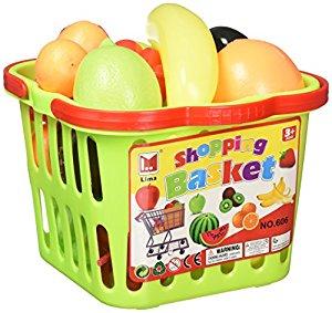 300x283 Fruit Amp Veggies Shopping Basket Toy Food Playset W