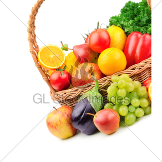 325x325 Vegetables And Fruits In A Basket Gl Stock Images