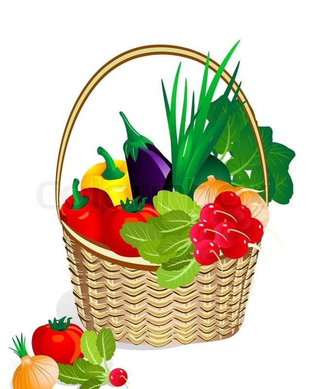 640x800 Vegetables In The Basket Stock Vector Colourbox