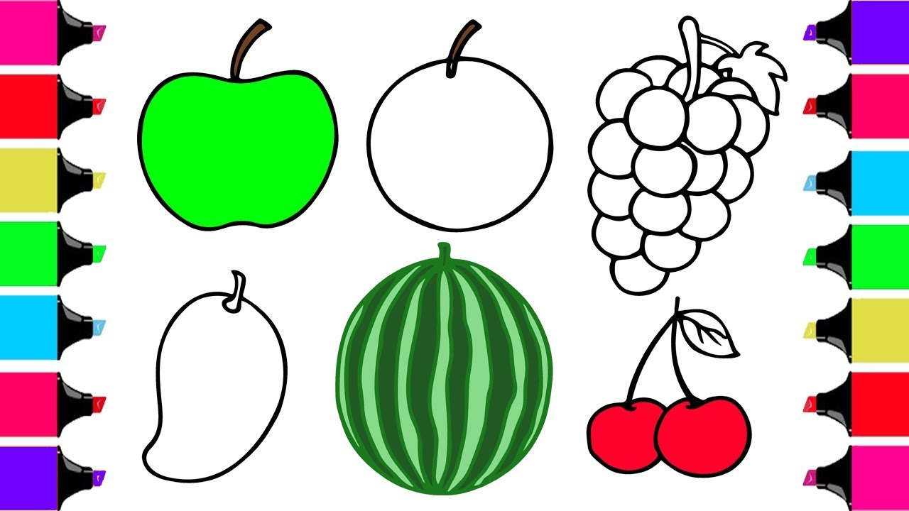 1280x720 How To Draw Fruits And Vegetables And Coloring Dresses For Kids 4k