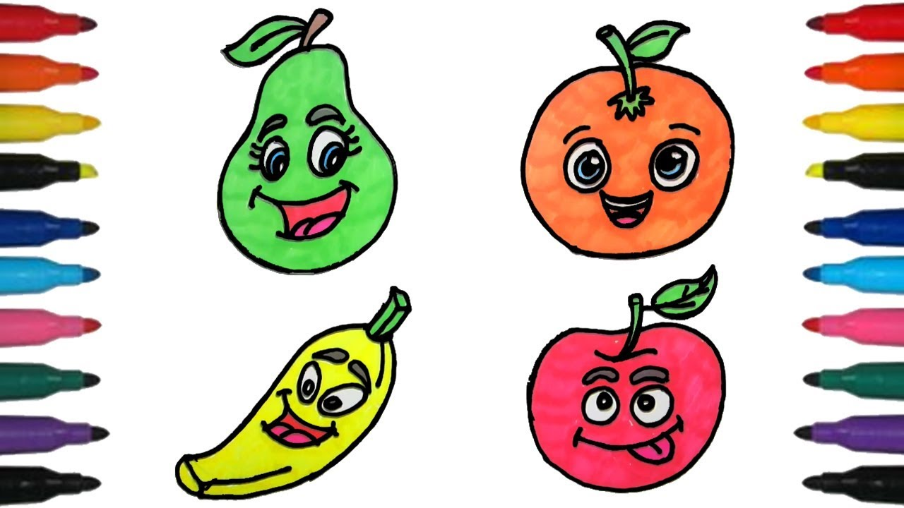 1280x720 How To Draw Fruits Vegetables For Kids Step By Step Fruits