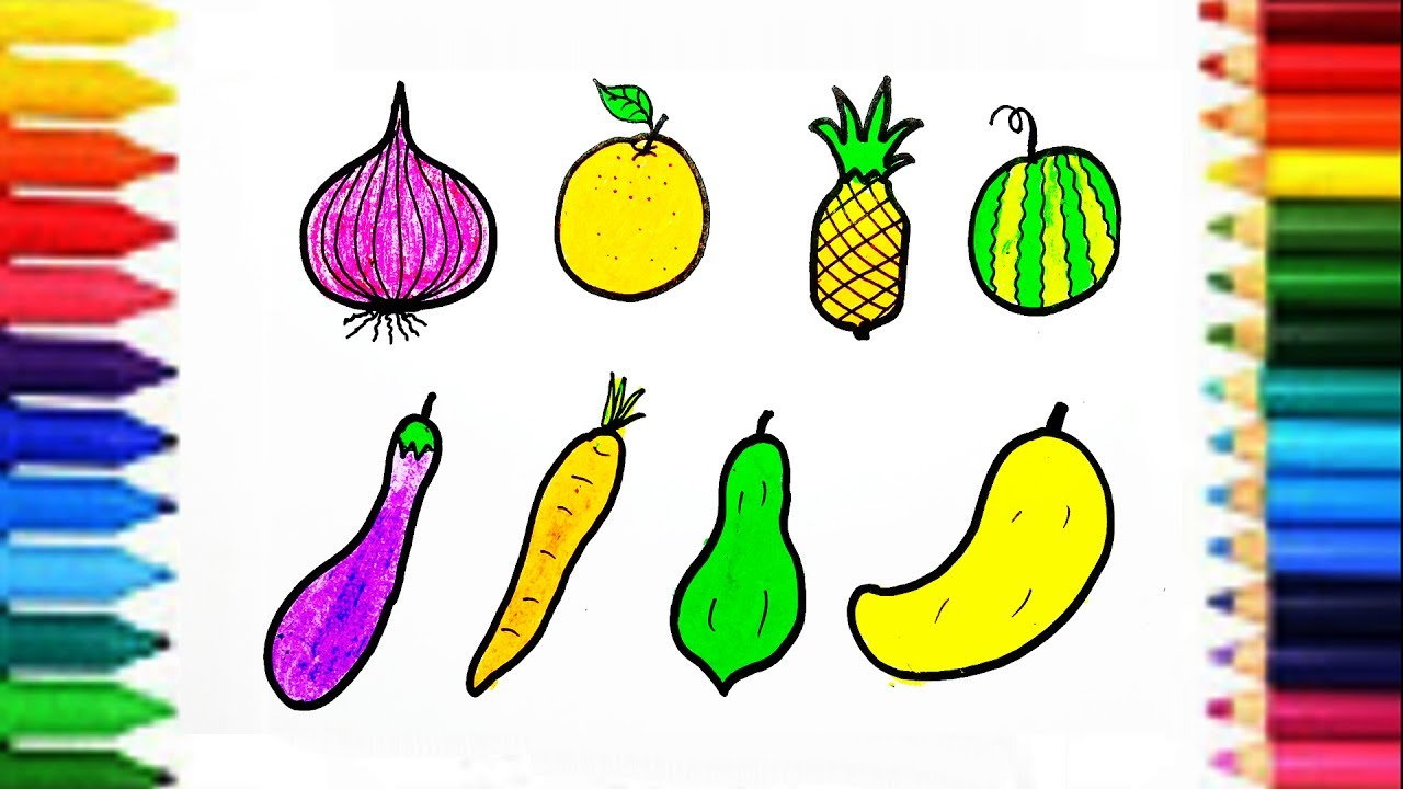 1280x720 Learn Names Of Fruits Vegetables For Kids How To Draw
