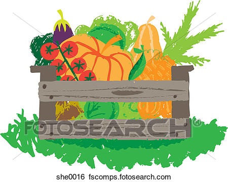 450x360 Stock Illustration Of A Crate Of Fruit And Vegetables She0016