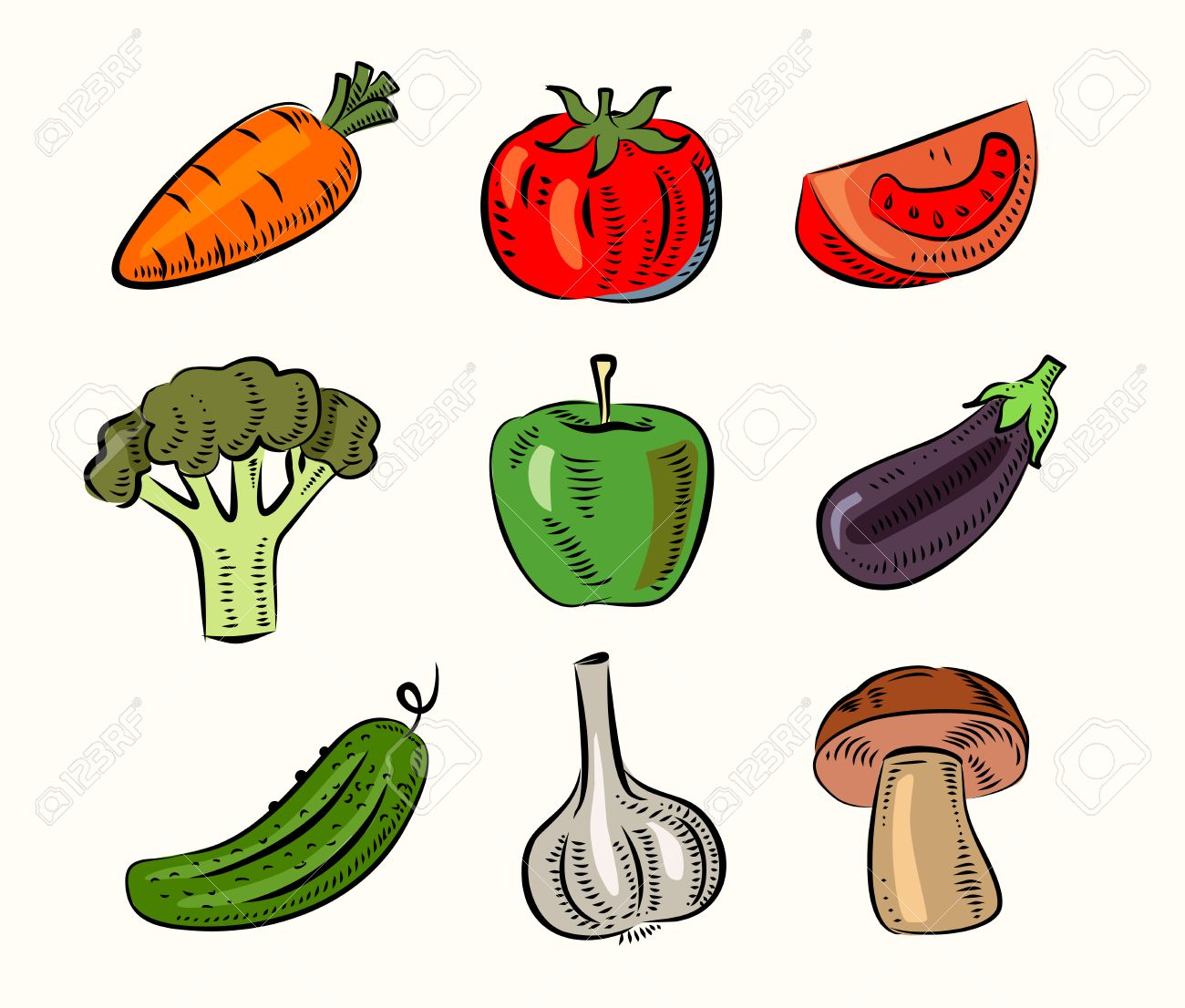 1300x1106 Vector Hand Draw Fruit And Vegetable Icon Set Stock Photo, Picture