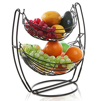 355x355 Black Double Hammock 2 Tier Fruit Vegetables