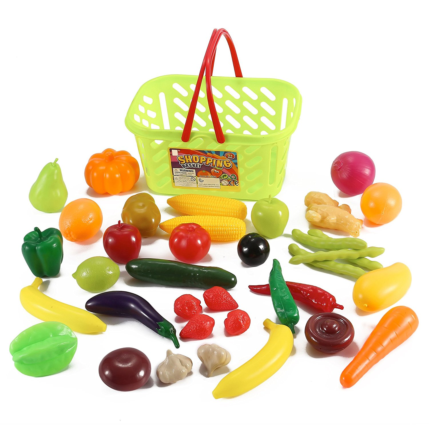 1500x1500 Fruits And Vegetables Shopping Basket Grocery Play