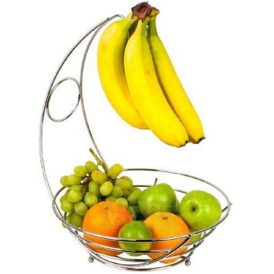 900x900 Chrome Fruit Bowl Veg Basket Banana Holder Storage Hanger Hook