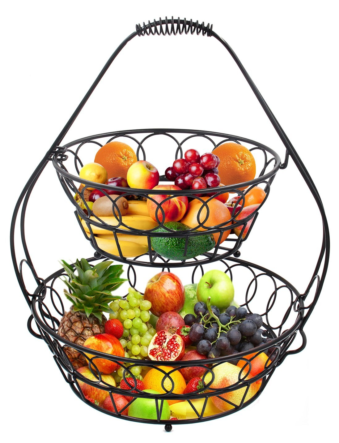 1097x1432 Esylife 2 Tier Fruit Basket Assembled Fruit Bowl Black, 29.85cm