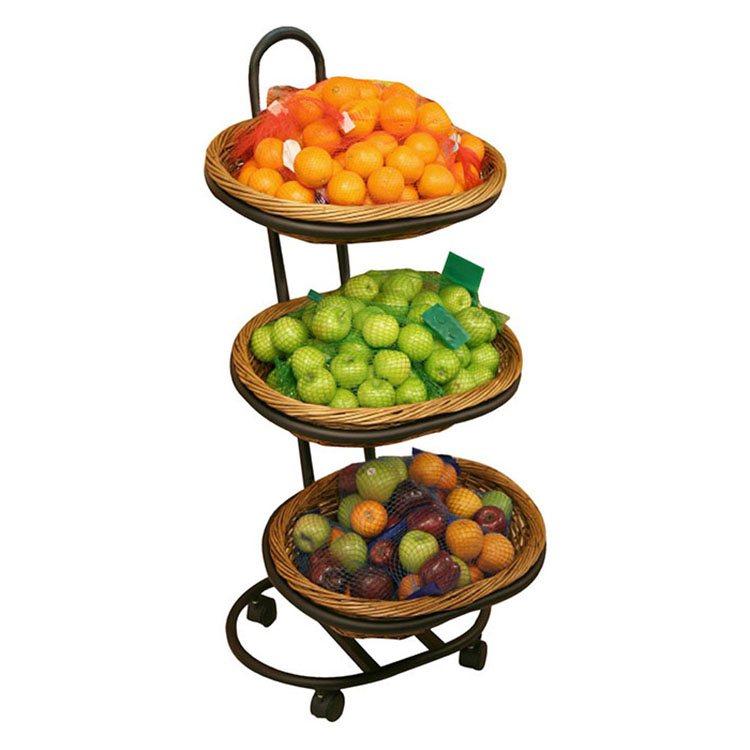 750x750 3 Tier Oval Willow Basket Merchandiser Produce Display