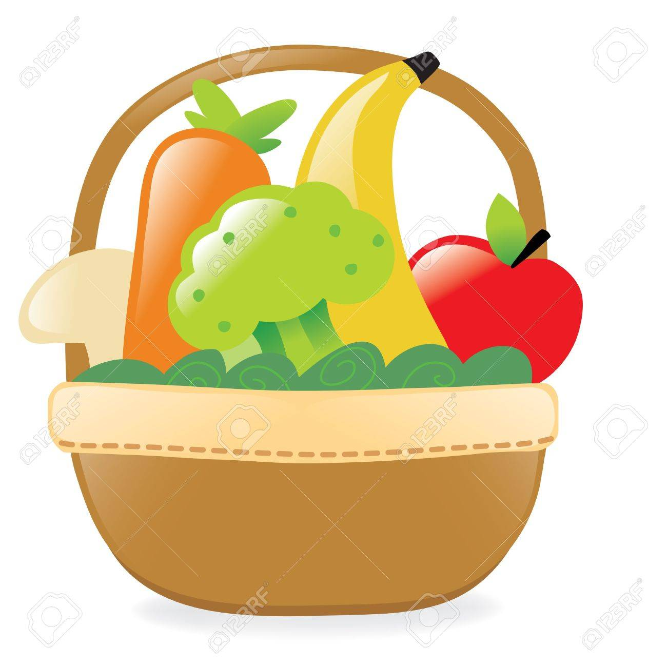1300x1298 Fresh Fruits And Veggies In A Basket Royalty Free Cliparts