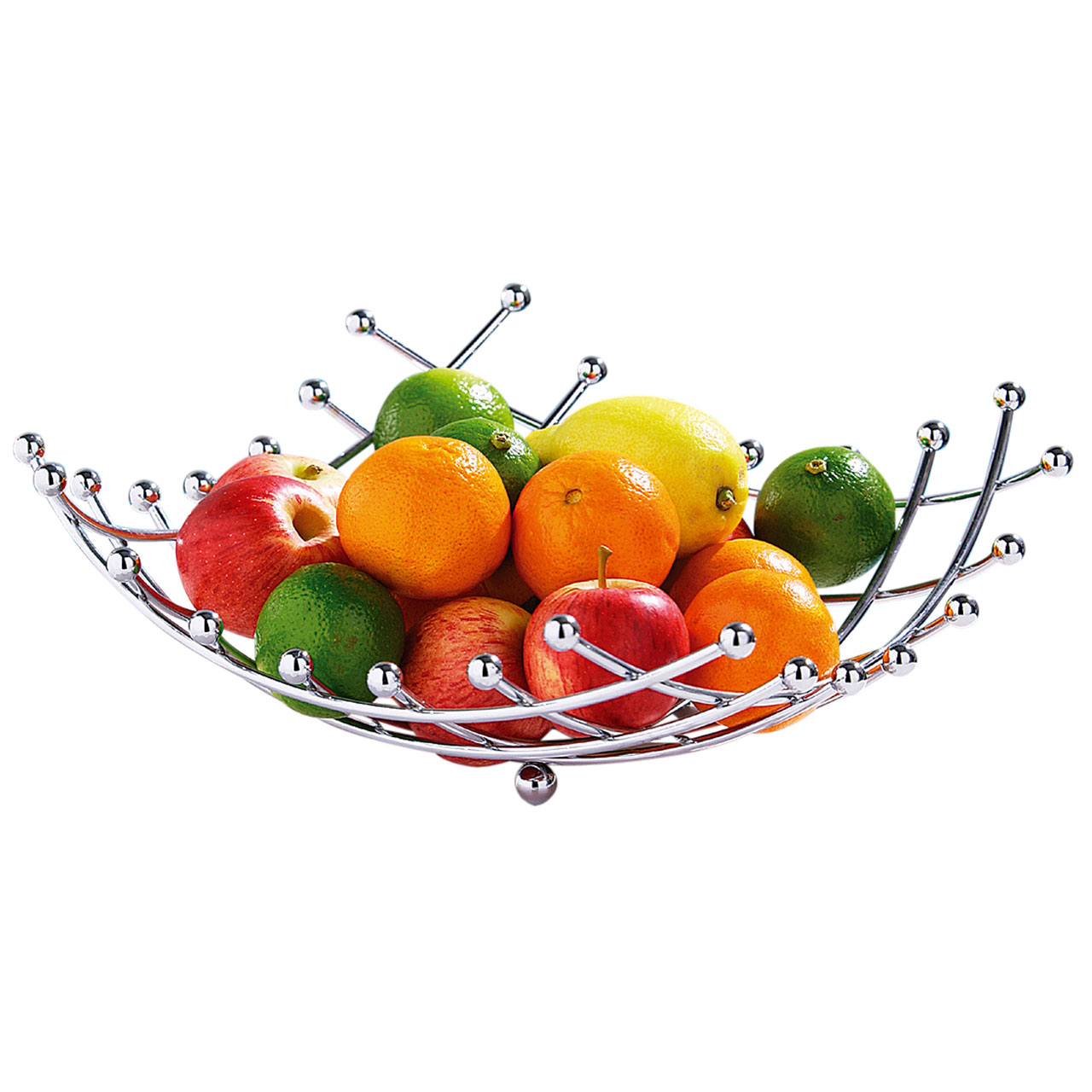 1280x1280 Silver Chrome Wire Lattice Criss Cross Fruit Vegetable Basket Bowl
