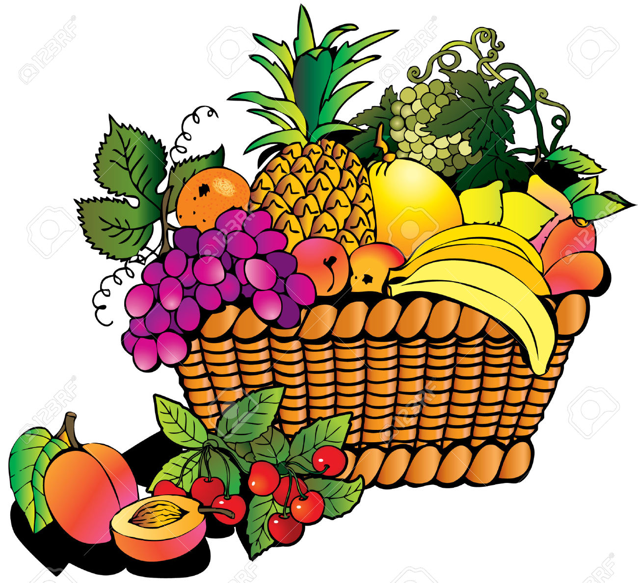 1300x1188 Thanksgiving Clipart Fruit Basket