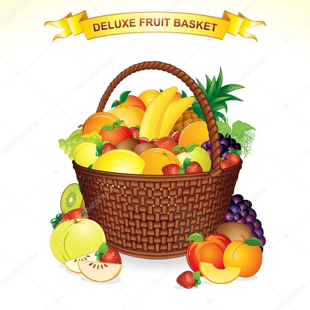 1024x1024 Fruit Basket Illustration Stock Vector Pilart