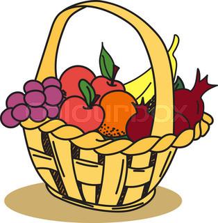 314x320 Fruit Basket Icon, Flat, Cartoon Style. Jewish Holiday Shavuot