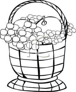 247x300 Black And White Cartoon Of A Fruit Basket