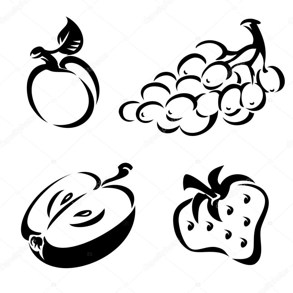 1024x1024 Black And White Fruit Stock Vector Print2d