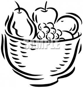 283x300 Bowl Full Of Fruit In Black And White