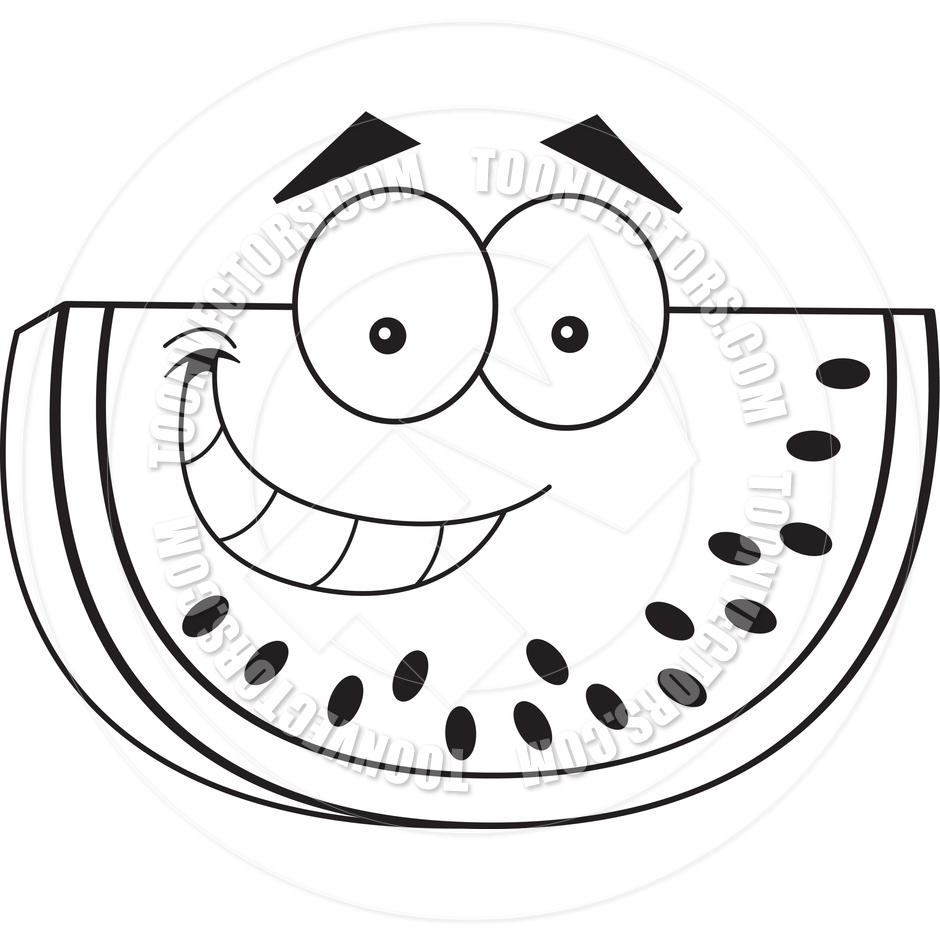 940x940 Cartoon Watermelon (Black And White Line Art) By Kenbenner Toon