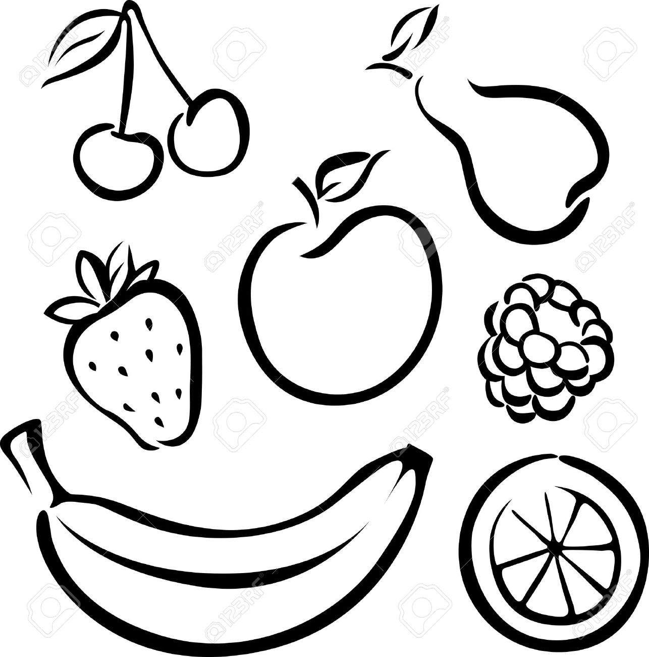 Fruit Clipart Black And White | Free download best Fruit