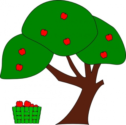 425x419 Green Apple Fruit Tree Cartoon Cherry Trees Plant Vector, Free