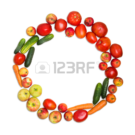 450x450 Frame Of Vegetables And Fruits On White Background Stock Photo