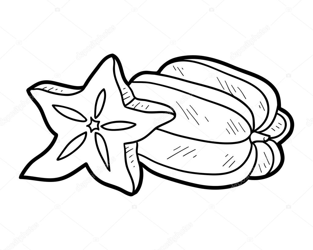 1024x819 Coloring Book Fruits And Vegetables (Star Fruit) Stock Vector