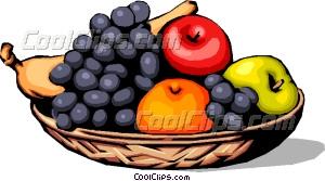 300x167 Assorted Fruits In Basket Vector Clip Art