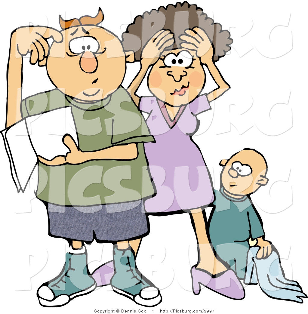 1024x1044 Clip Art Of A Frustrated New Mother And Dad Trying To Figure Out