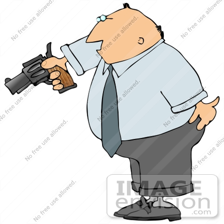 450x450 Angry And Frustrated Business Man Aiming A Pistil Clipart