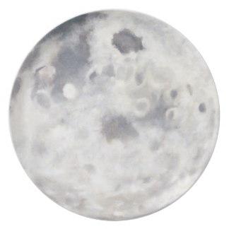 324x324 Full Moon Painting Plates Zazzle