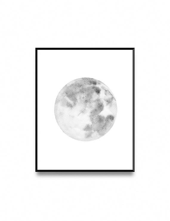 570x741 Moon Print Minimalist Watercolor Painting La Luna Wall Art