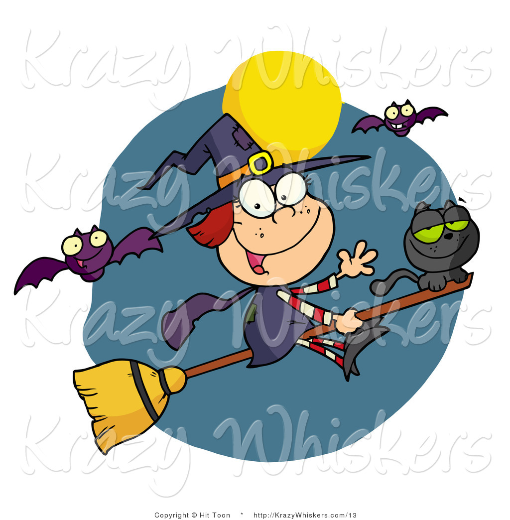 1024x1044 Vector Critter Clipart Of A Happy Halloween Witch And Cat Flying