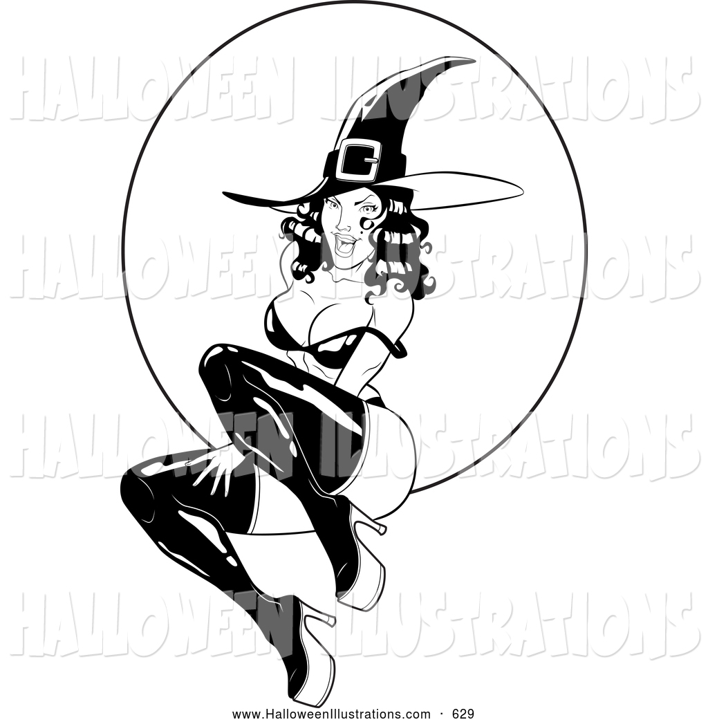 1024x1044 Halloween Clip Art Of A Creepy Witch Flying Over A Full Moon By