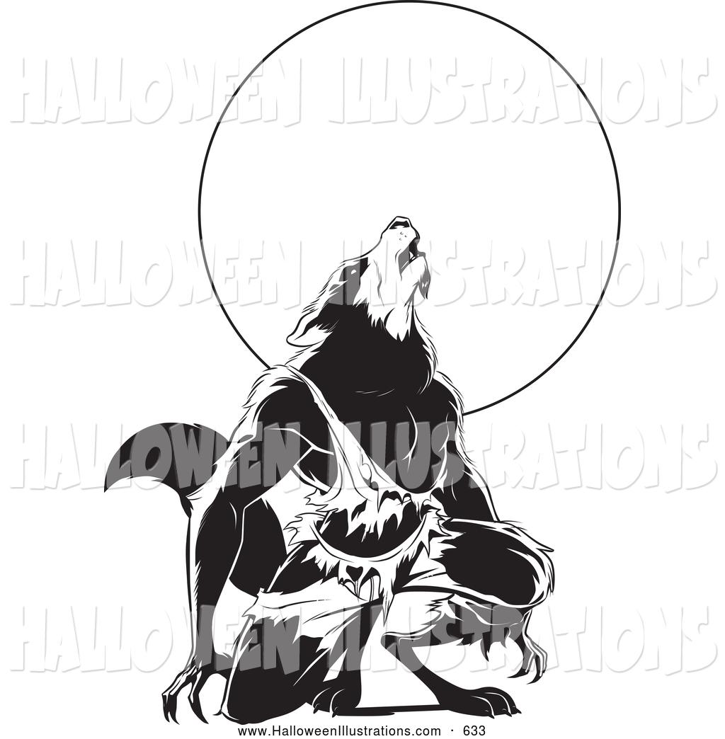 1024x1044 Halloween Clip Art Of A Scary Werewolf Howling Under A Full Moon