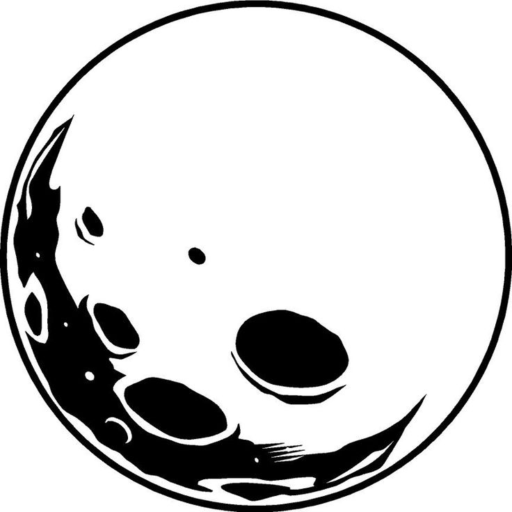 Full Moon Clipart Black And White