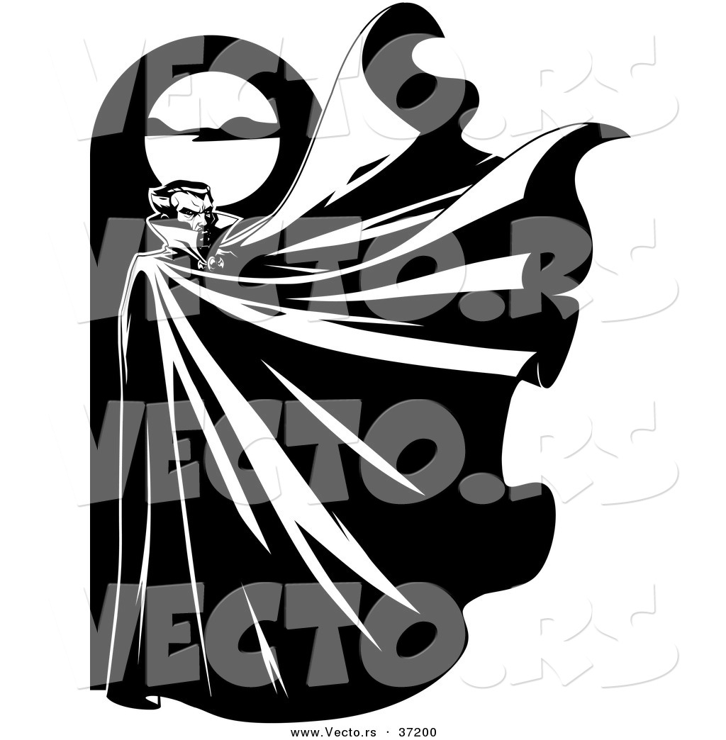1024x1044 Vector Of A Vampire Below A Full Moon With His Cape Flapping