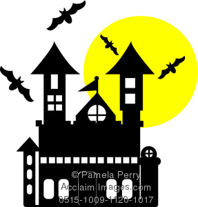 287x300 Art Illustration Of A Cartoon Haunted House With Bats And A Full Moon