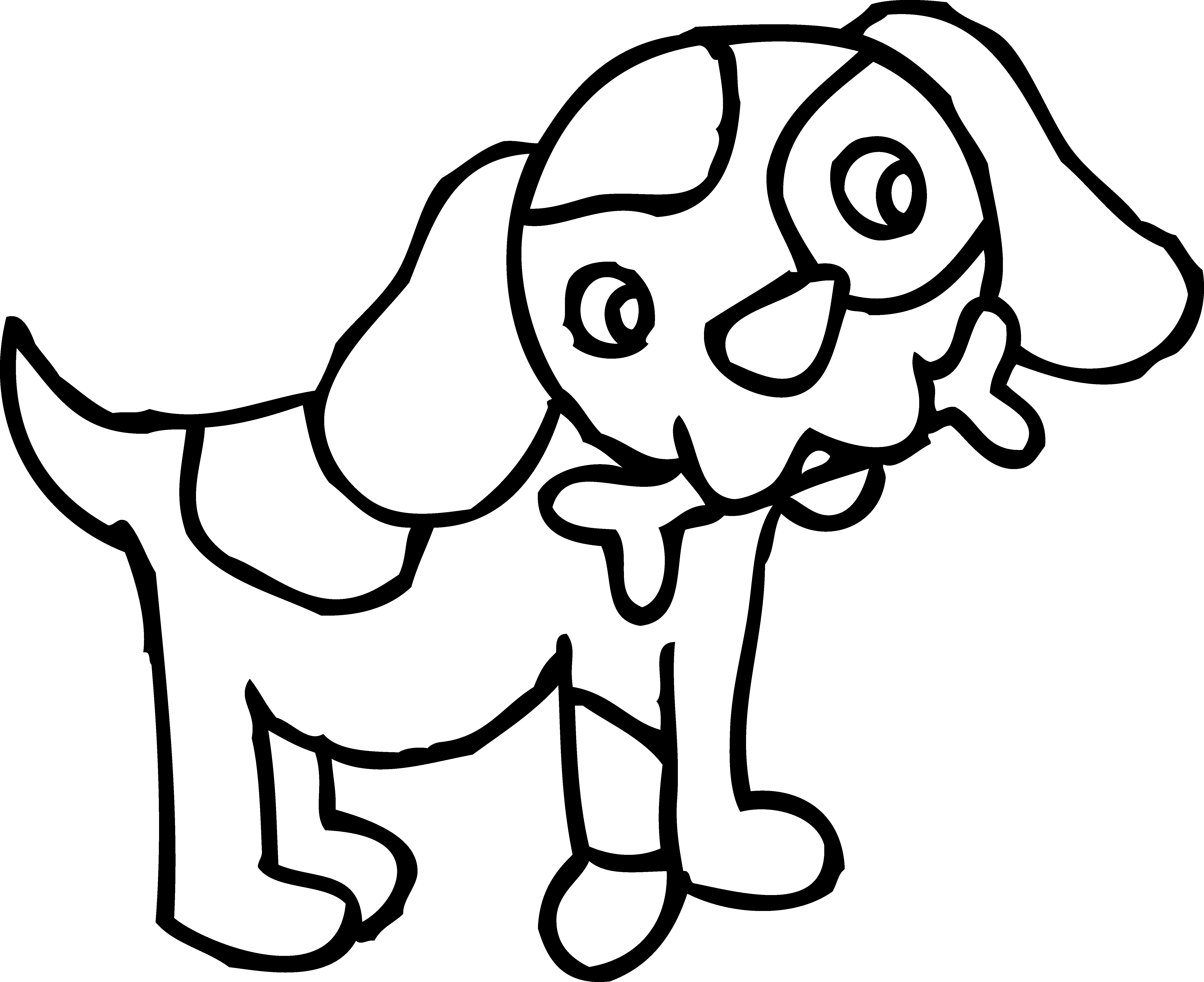5897x4811 Coloring Page Of Dog With Bone