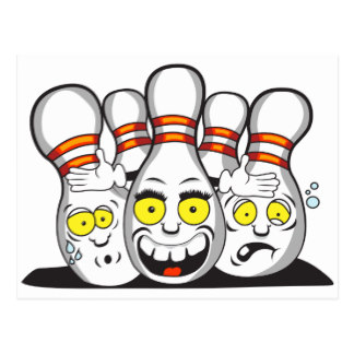 324x324 Funny Bowling Cartoon Postcards Zazzle