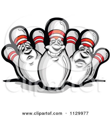 450x470 Cartoon Of Happy And Sad Bowling Pin Mascots