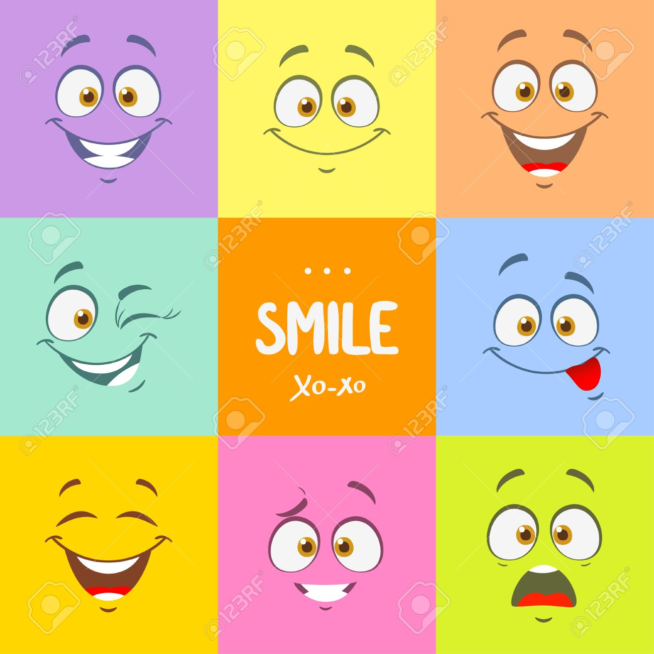 1300x1300 Funny Cartoon Faces With Emotions On Bright Colored Background