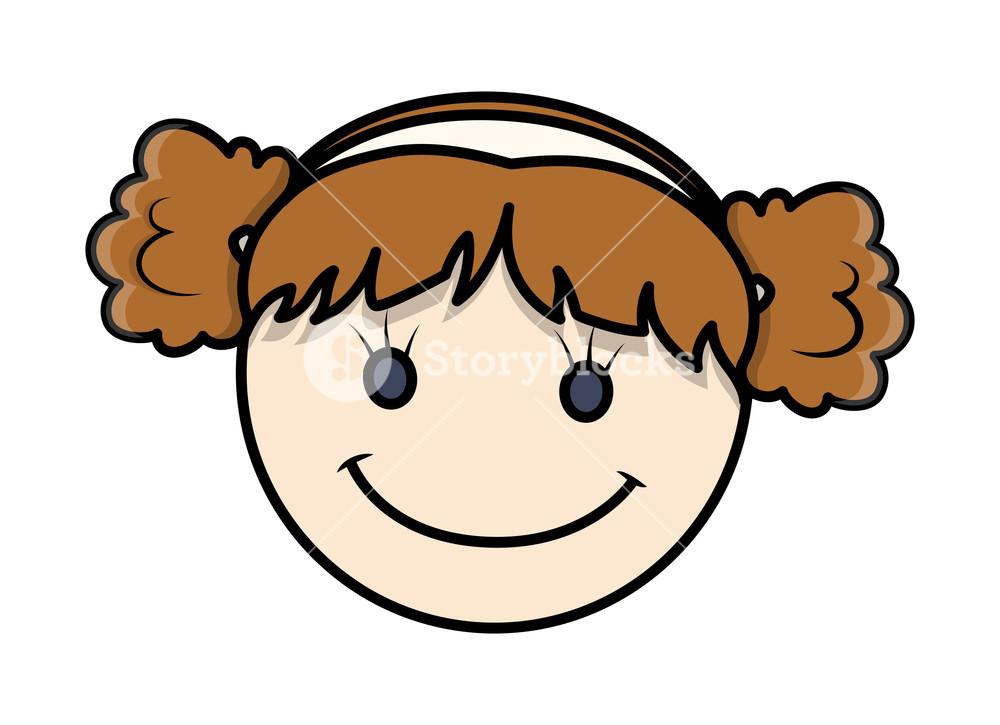 1000x725 Funny Cartoon Kid Girl Happy Face Royalty Free Stock Image