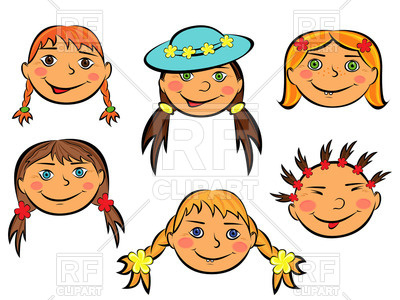 400x300 Funny Cartoon Faces Of Smiling Teen Girls And Boys Royalty Free