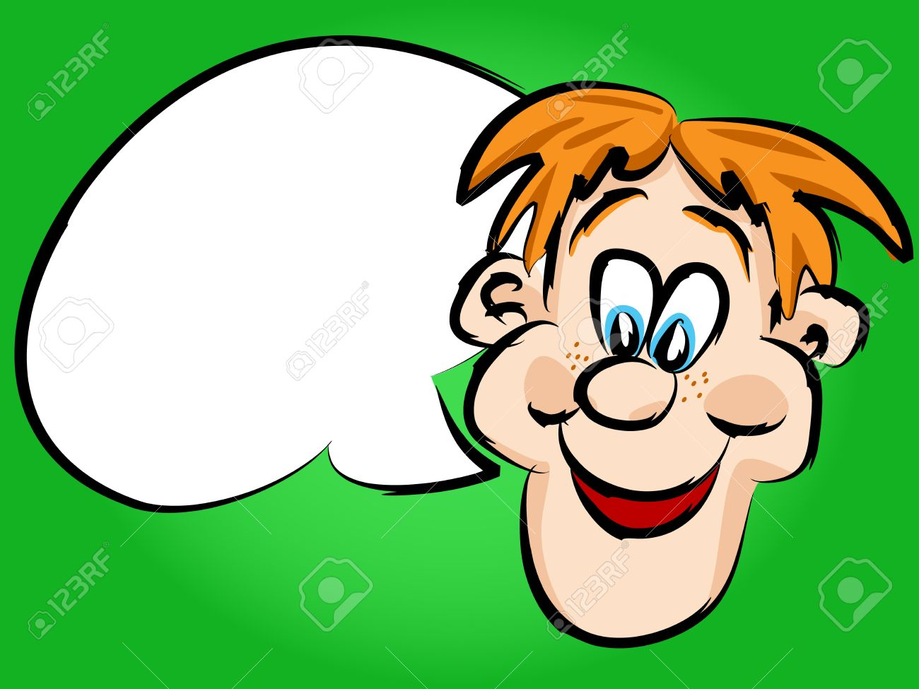 1300x975 Funny Hand Drawn Face Red Head Cartoon Man Or Guy With White