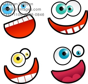 300x285 Set Of Four Funny Smiling Cartoon Faces Clipart Image