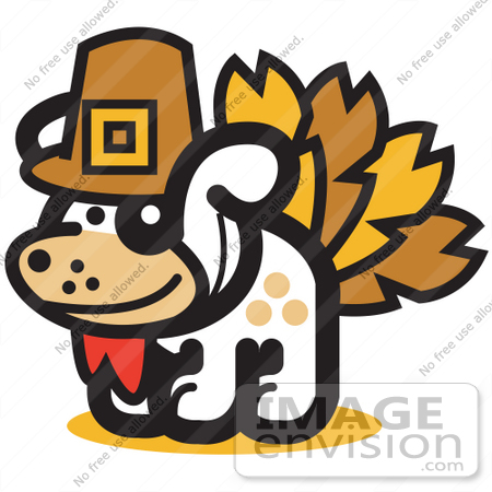 450x450 Royalty Free Cartoon Clip Art Of A Dog Disguised As A Thanksgiving