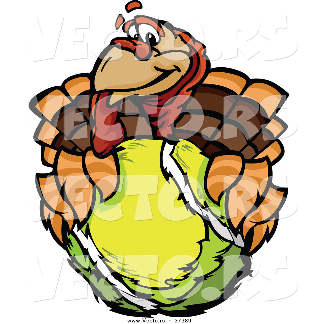 1024x1044 Vector Of A Cartoon Turkey Mascot Holding Out A Tennis Ball By