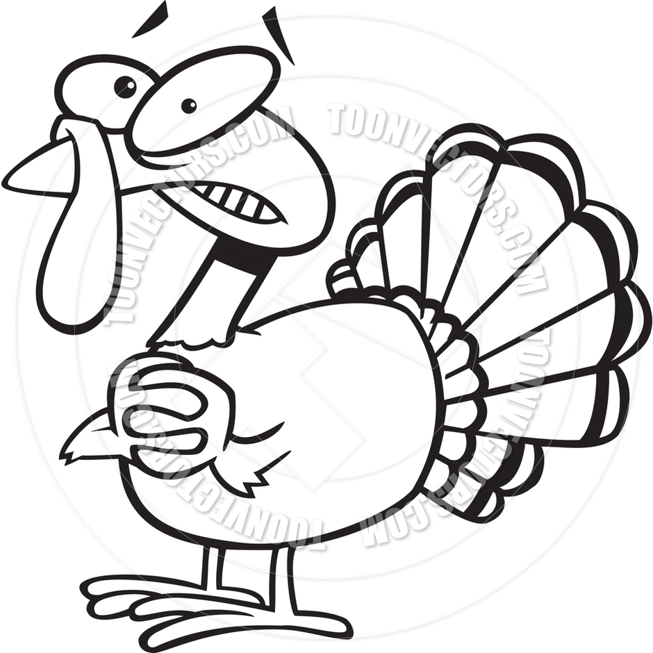 940x940 Cartoon Nervous Turkey (Black Amp White Line Art) By Ron Leishman