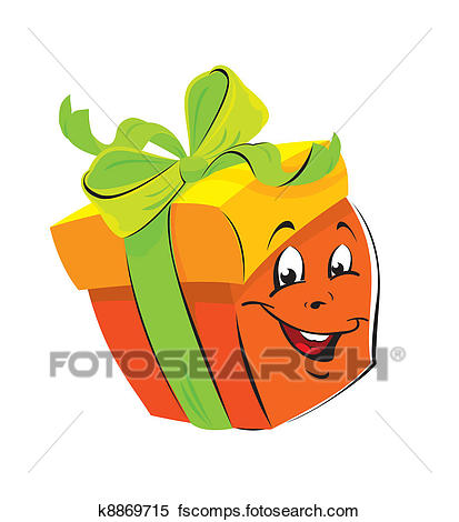 413x470 Clipart Of Gift Box Cartoon With Funny Face K8869715