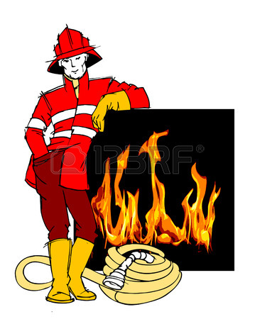 359x450 Cute Cartoon Illustration Of A Fireman Stock Photo, Picture